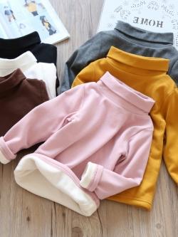 C128-721 มีรอยเปื้อนจางๆ1จุดด้านหลัง เสื้อคอเต่ากันหนาวเด็กผ้าคอตตอนเนื้อหนาซับกำมะหยี่ สีสวย ใส่อุ่น size 7(100)