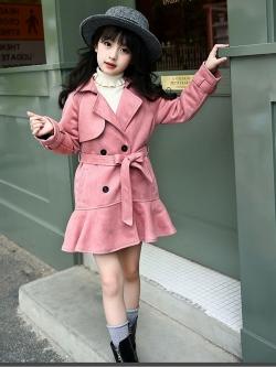 C127-50 เสื้อโค้ทกันหนาวเด็กทรงกระโปรง สีชมพูตุ่น ผ้านุ่มเนื้อดี แบบสวย บุซับด้านใน สวย ใส่อุ่นมาก size 140-160