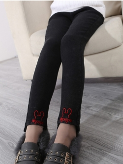 C127-81 กางเกงกันหนาวสีดำ เอวยางยืด บุขนนุ่ม สวย ใส่สบาย size 110-160