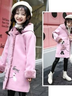 C127-54 เสื้อกันหนาวเด็ก สีชมพู ผ้าขนเนื้อนิ่ม หนานุ่มเนื้อดี แบบสวย บุซับด้านในมีฮูท ใส่อุ่น size 130,140