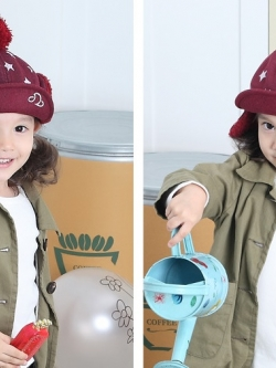 CH115-38 หมวกกันหนาวเด็กกระดุมถอดออกเป็นที่ปิดหูได้ มี 3 สีให้เลือก สำหรับเด็ก 1-4 ขวบ