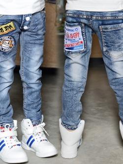 C126-65 กางเกงยีนส์กันหนาวเด็ก ปักลายเท่ บุขนหนา 0 องศาสวยจบตัวเดียว size 110