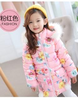 C127-49 เสื้อกันหนาวเด็ก สีชมพู ลายดอกไม้สวย ผ้าบุนวมหนานุ่มเนื้อดี แบบสวย บุซับด้านใน ใส่อุ่น size 110-140