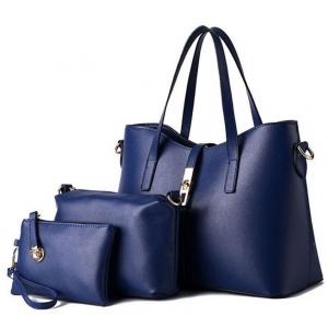 ***พร้อมส่ง*** ชุดกระเป๋าหนังแฟชั่นสตรี 3 ใบ รหัส TZ-7083 (T4-021) สีน้ำเงิน สไตล์เกาหลี สำหรับ สุภาพสตรีทันสมัย ราคาไม่แพง
