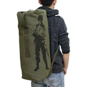 ***พร้อมส่ง*** กระเป๋าผ้าแคนวาส แบบสะพายหลัง สำหรับสุภาพบุรุษ รหัส CVM-016 (C4-017) สีเขียวทหารใหญ่ สไตล์เกาหลี ราคาไม่แพง