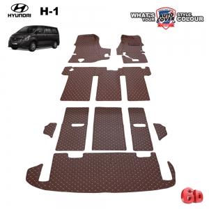 พรมรถยนต์ 6D Leather Car Mat ชุดเต็มคัน HYUNDAI H1 ELITE 11 ที่นั่ง ปี 2016-2020 จำนวน 7 ชิ้น