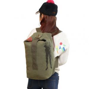 ***พร้อมส่ง*** กระเป๋าผ้าแคนวาส แบบสะพายหลัง สำหรับสุภาพบุรุษ รหัส CVM-016 (C4-017) สีเขียวทหารใบเล็ก สไตล์เกาหลี ราคาไม่แพง