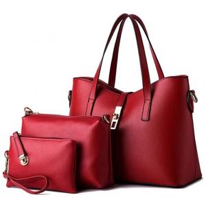 ***พร้อมส่ง*** ชุดกระเป๋าหนังแฟชั่นสตรี 3 ใบ รหัส TZ-7083 (T4-021) สีแดง สไตล์เกาหลี สำหรับ สุภาพสตรีทันสมัย ราคาไม่แพง