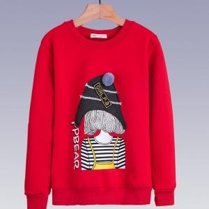 C126-21 เสื้อกันหนาวเด็กสีแดงสวย ลายการ์ตูนน่ารัก บุขนกำมะหยี่นุ่มๆ รุ่นนี้ไม่หนามาก เหมาะกับอากาศสบายๆหรือใส่ทับลองจอนก็ยิ่งอุ่น พร้อมส่ง