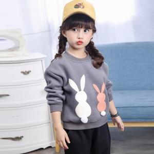 C127-36 เสื้อกันหนาวเด็กสีเทา เป็นผ้าตีขนพิมพ์ลายกระต่ายน่ารัก สวย ใส่อุ่น