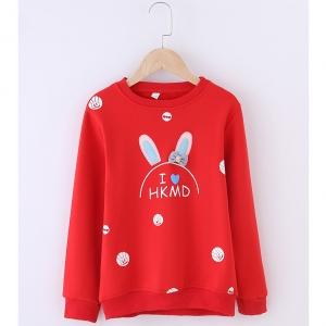 C126-18 เสื้อกันหนาวเด็กสีแดงสวย ลายกระต่ายน่ารัก บุขนกำมะหยี่นุ่มๆ รุ่นนี้ไม่หนามาก เหมาาะกับอากาศสบายๆหรือใส่ทับลองจอนก็ยิ่งอุ่น พร้อมส่ง