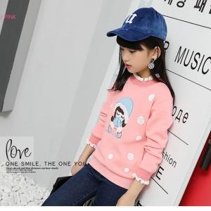 C119-39 เสื้อกันหนาวเด็ก สีชมพู ผ้านิ่ม ปักลายสวย บุขนนุ่มๆ ใส่สวยอุ่นสบาย size 110-160