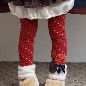 C99-32 กางเกงกันหนาวสำหรับเด็ก สีแดง ลายจุด บุกำมะหยี่เนื้อนุ่ม สวย size 100-140