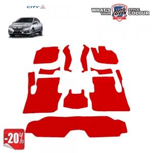 สินค้า PROMOTION!! รถ HONDA ALL NEW CITY ปี 2014-2018 พรมกระดุม Super Save ชุด Full จำนวน 10 ชิ้น สีแดง