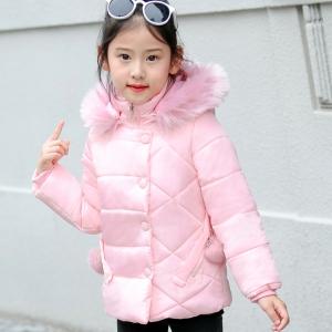 C119-51 เสื้อกันหนาวเด็กสีชมพู ฮูทที่คอ ถอดออกได้ ซิปหน้าซ่อน บุนวมซับในทั้งตัว สวยใส่อุ่นสบาย size 120-150