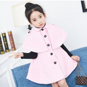 C123-53 เสื้อคลุมกันหนาวเด็ก เป็นผ้าขนสัตว์สีชมพู มีซับในทั้งตัว ไม่คัน สวย ใสุอุ่นๆ size 120-140 พร้อมส่ง