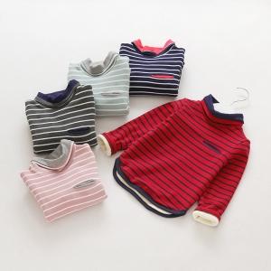 C99-53 เสื้อกันหนาวเด็ก รายริ้วสลับ ผ้าคอตตอนบุขนกำมะหยี่แบบหนา ขนนุ่มมาก size 100-140 สำหรับเด็ก 6เดือน - 6 ขวบ