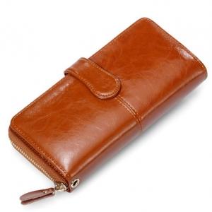 5.1 ***พร้อมส่ง***กระเป๋าสตางค์ หนังแท้ รหัส WL* 1-1 (WL-011) สีแดง พร้อมสายคล้องมือ สไตล์เกาหลี สำหรับสุภาพสตรี ทันสมัย ราคาไม่แพง