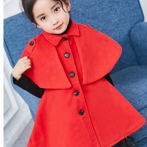 C118-40 เสื้อคลุมกันหนาวเด็ก เป็นผ้าขนสัตว์สีแดง มีซับในทั้งตัว ไม่คัน สวย ใสุอุ่นๆ size 120-140 พร้อมส่ง