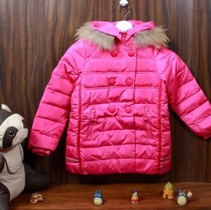 C13-112 เสื้อกันหนาวเด็กขนเป็ด สีชมพูสวยแต่งซิป กระเป๋าซิป 2ข้าง ซิปหน้าซ่อน ซับในทั้งตัว มีฮูท สวย ใส่อุ่น size 110