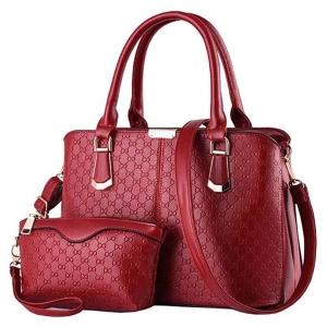 ***พร้อมส่ง*** กระเป๋าแฟชั่นสตรี รหัส JM-9064 (J4-014) สีแดง พร้อมใบเล็ก สไตล์เกาหลี สำหรับ สุภาพสตรีทันสมัย ราคาไม่แพง