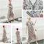 maxi dress ซีฟองพิมพ์ลายดอกไม้โทนสีน้ำตาล คอวี thumbnail 1