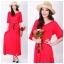 ชุดคลุมท้อง maxi dress สีแดงสด ผ้านิ่ม ยืดหยุ่นดีค่ะ thumbnail 1