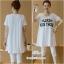 ชุดเซ็ตเสื้อยืดสีขาวสกีนลายมีกระเป๋า+เลกกิ้งขาวเอวปรับได้ thumbnail 1