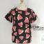 เสื้อ ผ้ามิรินพิมพ์ลายแตงโม สีดำ อก 48 นิ้ว thumbnail 1