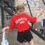 เสื้อแฟชั่น คอกลม แขนสั้นแต่งขาดๆ ลาย brooklya สีแดง thumbnail 1