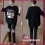 ชุดเซ็ตเสื้อสีดำ ผ้ายืดoversize +เลกกิ้งดำเอวมีสายปรับ thumbnail 1