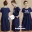 เดรสคลุมท้อง+ให้นม ผ้ายืดสีoheg'boสกีนลายมิกกี้มีเชือกผูกใต้อก และมีกระเป๋า thumbnail 1