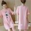เสื้อคลุมท้องแฟชั่น ผ้ายืดสีชมพูสกีนลาย thumbnail 1