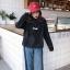 (ภาพจริง)เสื้อแฟชั่น มีฮูด แขนยาว ผ้าร่ม ลาย MSCHF สีดำ