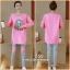 ชุดเซ็ตเสื้อแขนยาวสีชมพูผ้านิ่ม+เลกกิ้งขายาวสีเทาเอวมีสายปรับ thumbnail 1