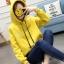 เสื้อกันหนาวแฟชั่น มีฮูด มีหูกวาง ปักลายเกร็ดหิมะ แขนยาว สีเหลือง