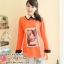 เสื้อคลุมท้องสีส้มแขนยาวสกีนลายผูหญิง พร้อมเชือกผูกหลัง thumbnail 1
