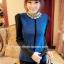 (ภาพจริง)เสื้อแฟชั่น คอปีนแต่งลูกไม้ แขนยาว ผ้าฝ้าย สีฟ้า