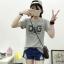 เสื้อยืดแฟชั่น แขนสั้น คอกลม ลาย D&G สีเทา (Import Korea)