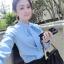 เสื้อแฟชั่น คอปีน ผูกโบว์ แขนยาว สีฟ้า thumbnail 1