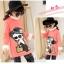 C129-20 เสื้อกันหนาวเด็กคอสูงผ้าสีชมพูคอสูง ปักลายการ์ตูนสวย ผ้าขนนุ่ม ใส่อุ่น size 120-160 thumbnail 3
