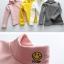 C122-85 เสื้อกันหนาวสีเหลือง มีขนกำมะหยี่นุ่ม ใส่ได้ทั้งชายหญิง สวย ใส่อุ่น size 110-160 thumbnail 4