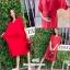 ชุดเดรสผ้ายืดสีแดงสด พร้อมเข็มขัด thumbnail 1