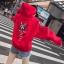 เสื้อกันหนาวแฟชั่น มีฮูด ผูกเชือก แขนยาว ลาย ทาสแมว สีแดง