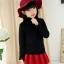 C129-22 เสื้อกันหนาวเด็กคอสูงสีดำ ผ้าขนนุ่ม ใส่อุ่น size 120-160 thumbnail 1