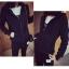 เสื้อกันหนาวแฟชั่น มีฮูด แขนยาว ซิปหน้า สีดำ thumbnail 1