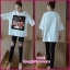 ชุดเซ็ตเสื้อสีขาว ผ้ายืดoversize +เลกกิ้งดำเอวมีสายปรับ thumbnail 1