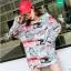 (ภาพจริง) เสื้อแฟชั่น hiphop คอกลม แขนสั้น ลายกราฟฟิค สีขาว แขนยาว