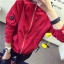 เสื้อคลุม มีฮูด แขนยาว ซิปหน้า แต่งอาร์ม การ์ตูน ผ้าร่ม สีแดง