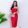ชุดราตรีสั้นเกาะอกสีแดง ผ้าไหมมันเงา ลุคสวยหรู เซ็กซี่ ( สินค้าพร้อมส่ง )